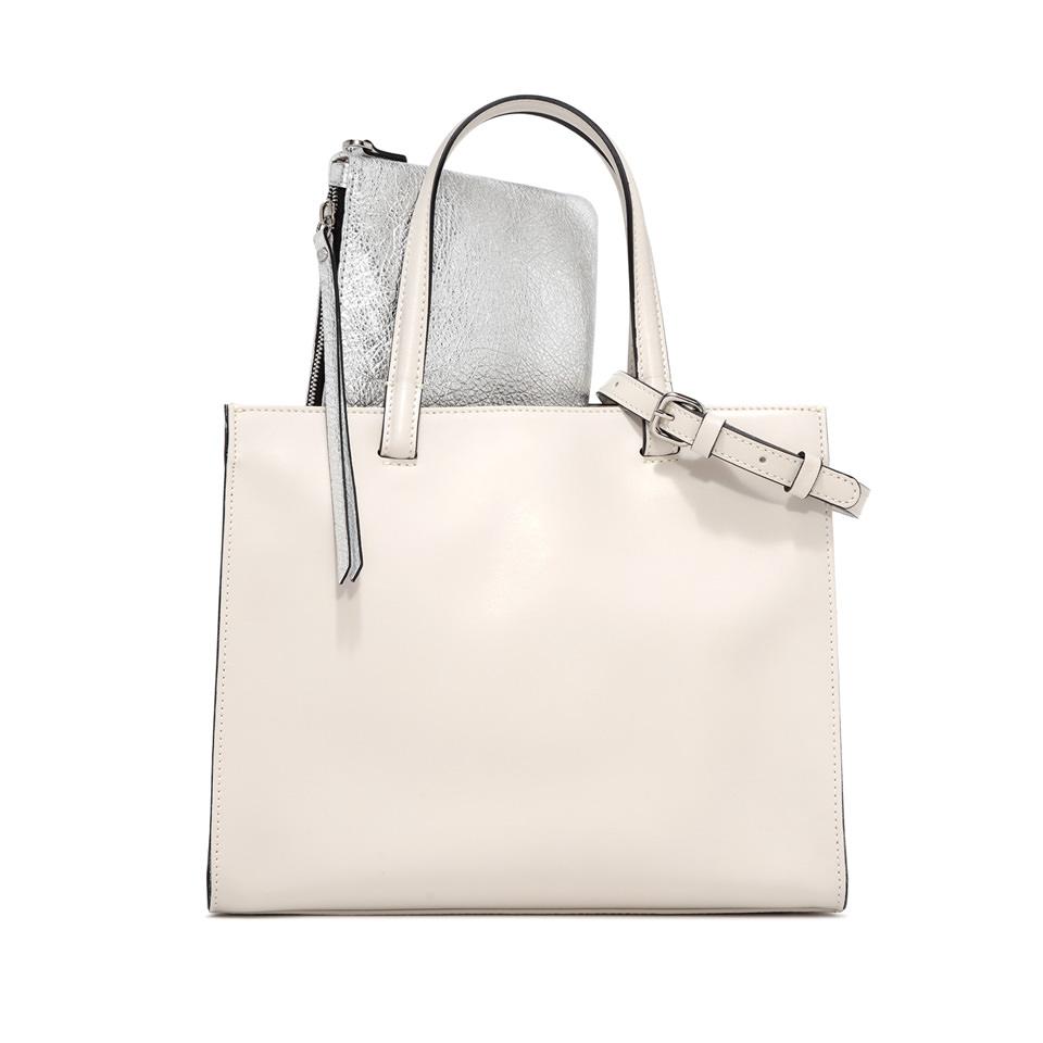GIANNI CHIARINI: LARGE SIZE CUBE HAND BAG COLOR WHITE