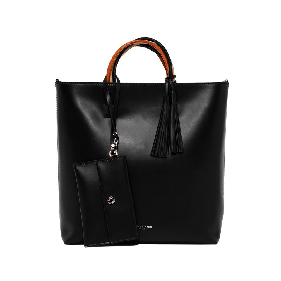GIANNI CHIARINI: LARGE SIZE FRANCESCA HAND BAG COLOR BLACK