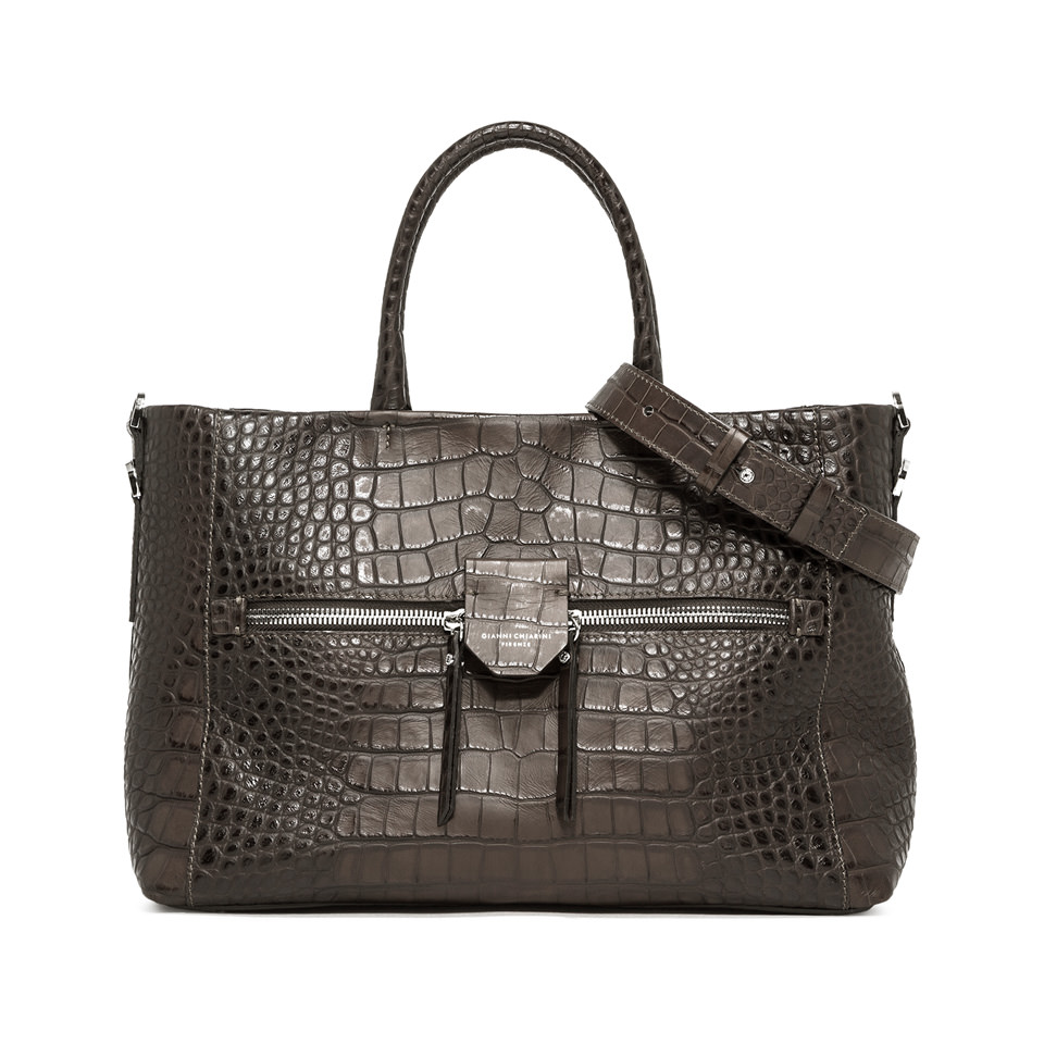 GIANNI CHIARINI: LARGE SIZE MARICA HAND BAG COLOR GREY