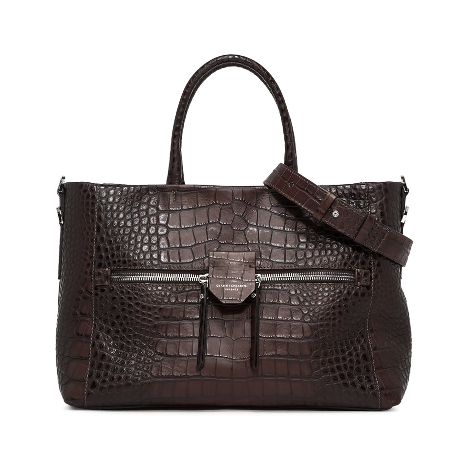 GIANNI CHIARINI: LARGE SIZE MARICA HAND BAG COLOR BROWN