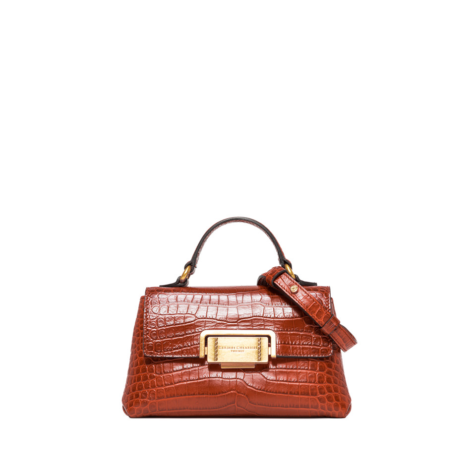 GIANNI CHIARINI: SMALL SIZE ROSSELLA HAND BAG COLOR ORANGE