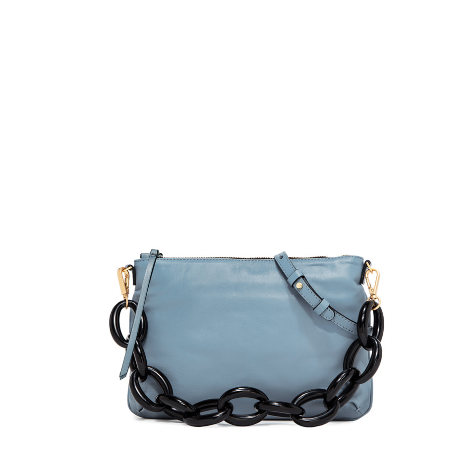 GIANNI CHIARINI: CHERRY LARGE LIGHT BLUE CLUTCH BAG