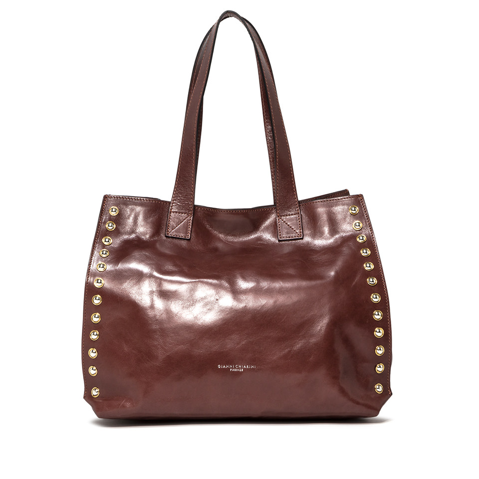 GIANNI CHIARINI: LARGE SIZE DOROTEA SHOULDER BAG COLOR BROWN