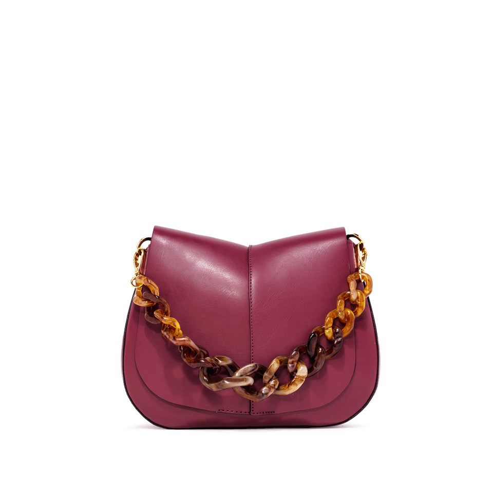 GIANNI CHIARINI: HELENA ROUND MEDIUM BURGUNDY SHOULDER BAG