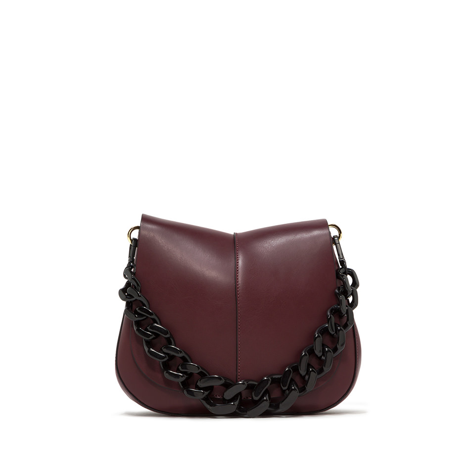 GIANNI CHIARINI: BORSA A SPALLA HELENA ROUND RESIN MEDIUM BORDEAUX