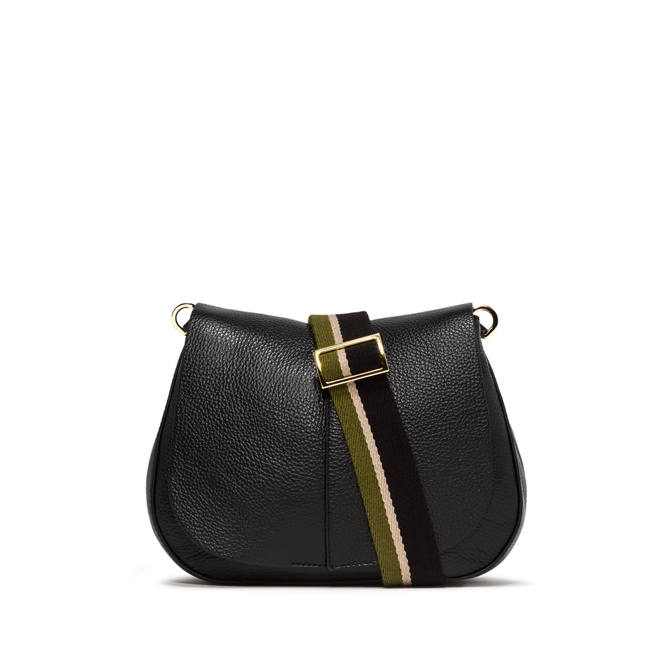 GIANNI CHIARINI: MEDIUM SIZE HELENA ROUND CROSSBODY BAG COLOR BLACK