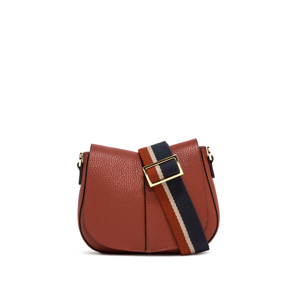 GIANNI CHIARINI: SMALL SIZE HELENA ROUND CROSSBODY BAG COLOR BROWN