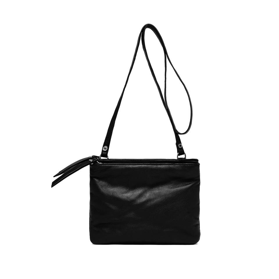 GIANNI CHIARINI: PIUMA MEDIUM BLACK SHOULDER BAG