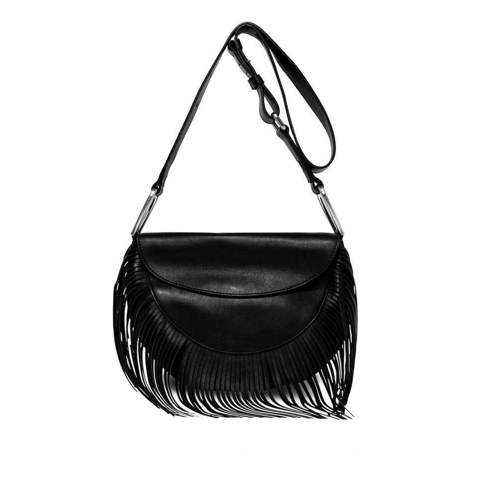 GIANNI CHIARINI: ROSETTA FRINGES MEDIUM BLACK SHOULDER BAG