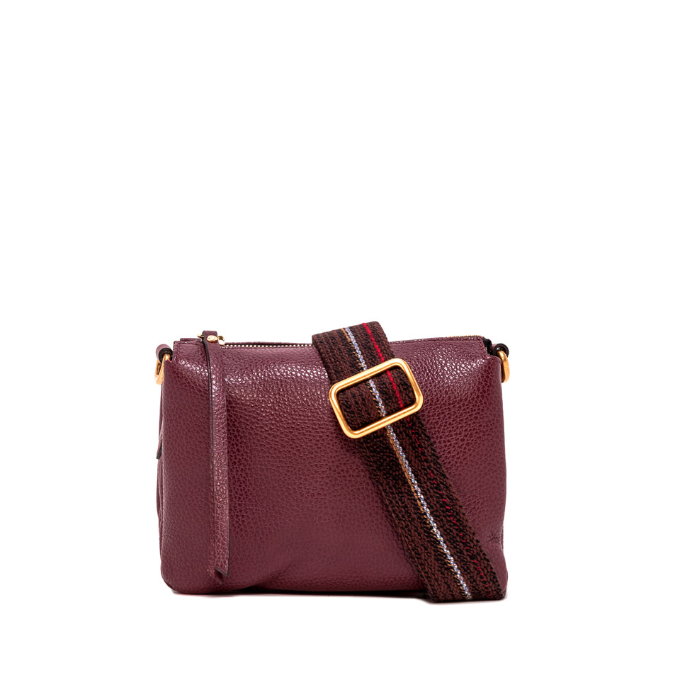 GIANNI CHIARINI: MEDIUM SIZE THREE CROSSBODY BAG COLOR BURGUNDY