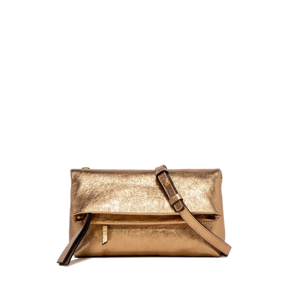 GIANNI CHIARINI: CHERRY BABY SMALL GOLD CLUTCH BAG