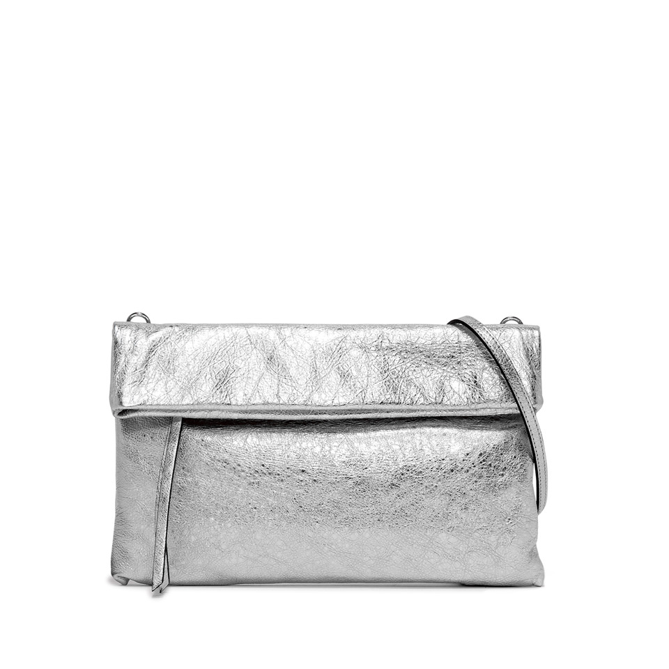 GIANNI CHIARINI: CHERRY LARGE SILVER CLUTCH BAG