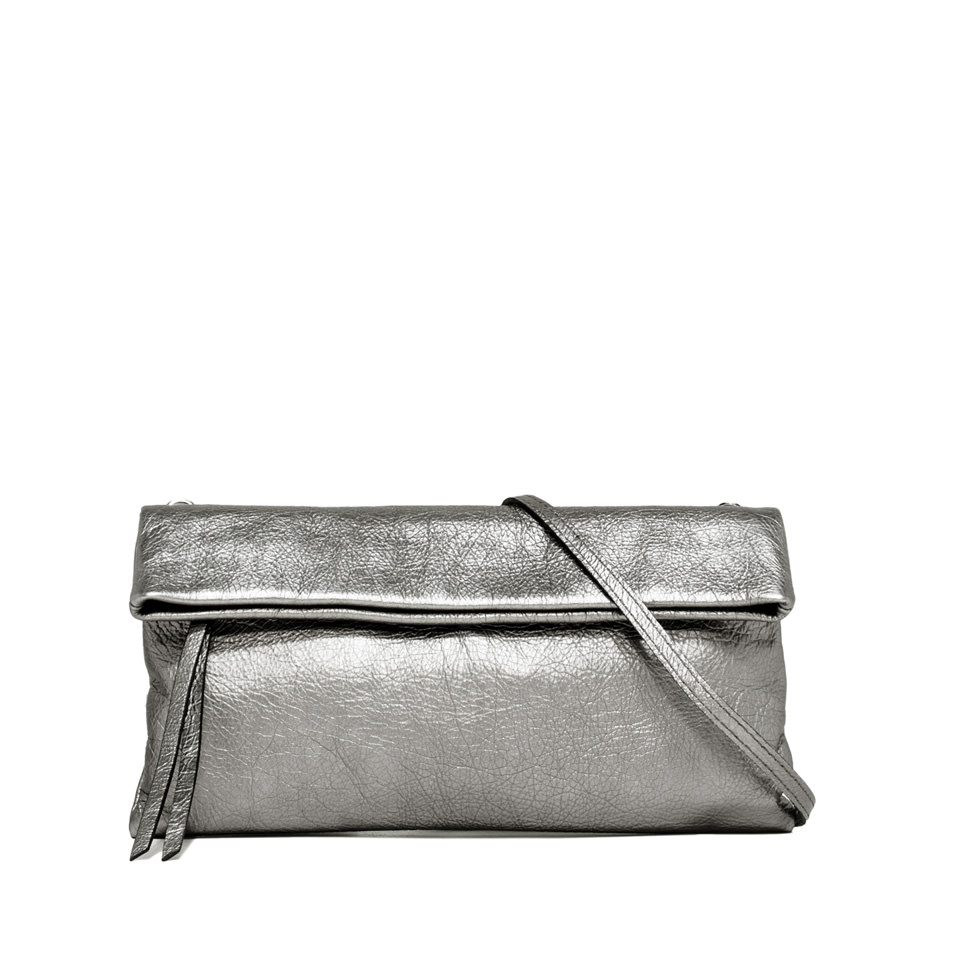 GIANNI CHIARINI: CHERRY MEDIUM SILVER CLUTCH BAG