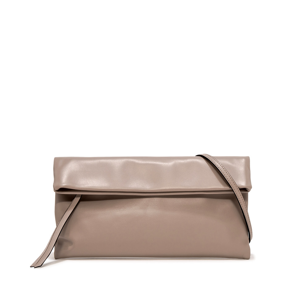 GIANNI CHIARINI: MEDIUM SIZE CHERRY CLUTCH BAG COLOR BEIGE