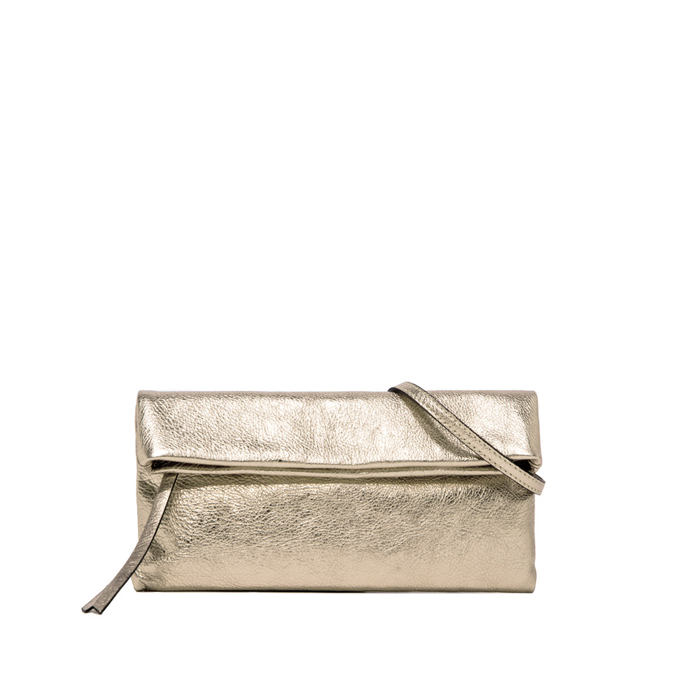 GIANNI CHIARINI: CHERRY SMALL GOLD CLUTCH BAG
