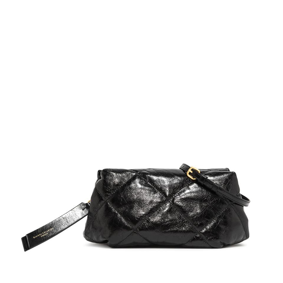 GIANNI CHIARINI: MEDIUM SIZE COLETTE CLUTCH BAG COLOR BLACK