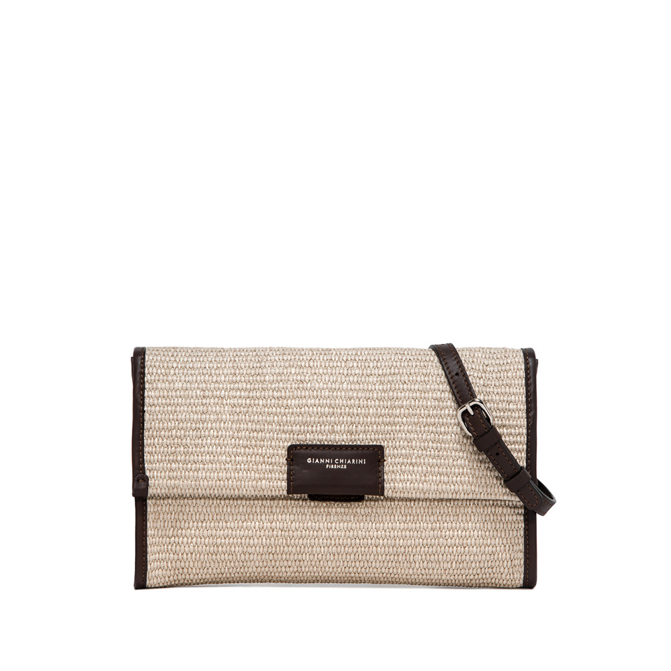 GIANNI CHIARINI: LARGE SIZE MARCELLA STRAW CLUTCH COLOR BEIGE/ORANGE