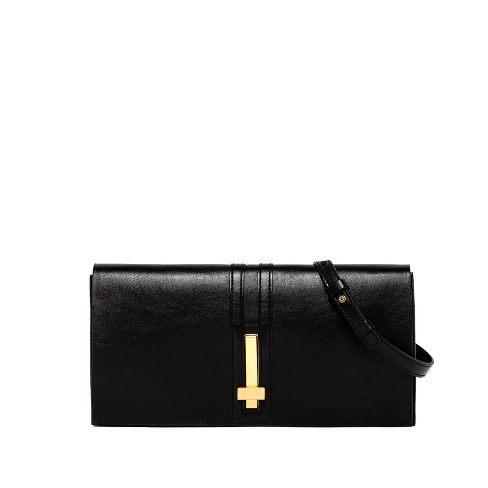 GIANNI CHIARINI: PREZIOSA MEDIUM BLACK CLUTCH BAG