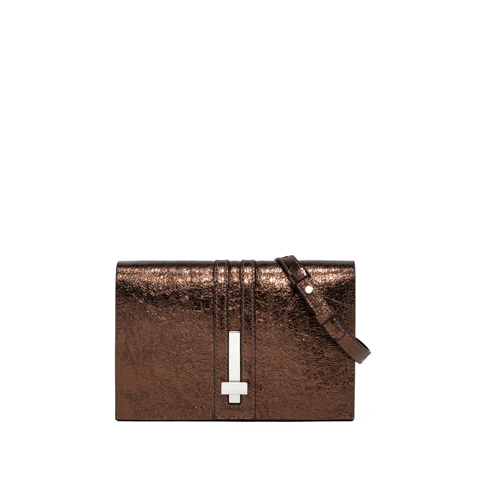 GIANNI CHIARINI: SMALL SIZE PREZIOSA CLUTCH BAG COLOR BRONZE