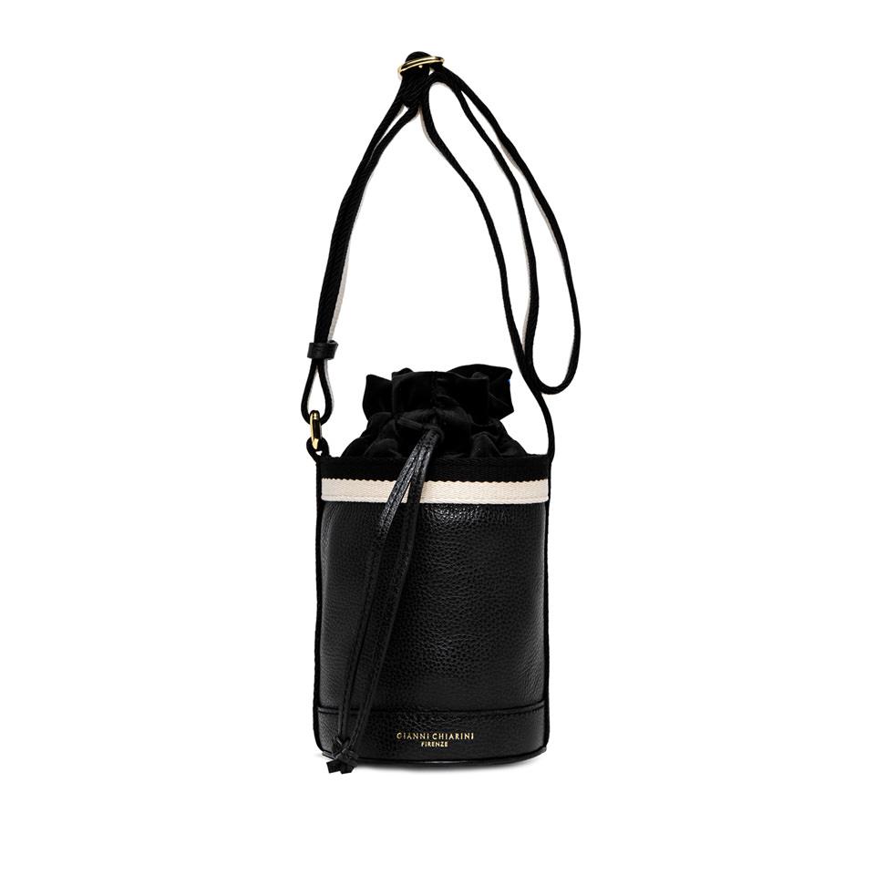 GIANNI CHIARINI: LENI  MEDIUM  BLACK  BUCKET  BAG