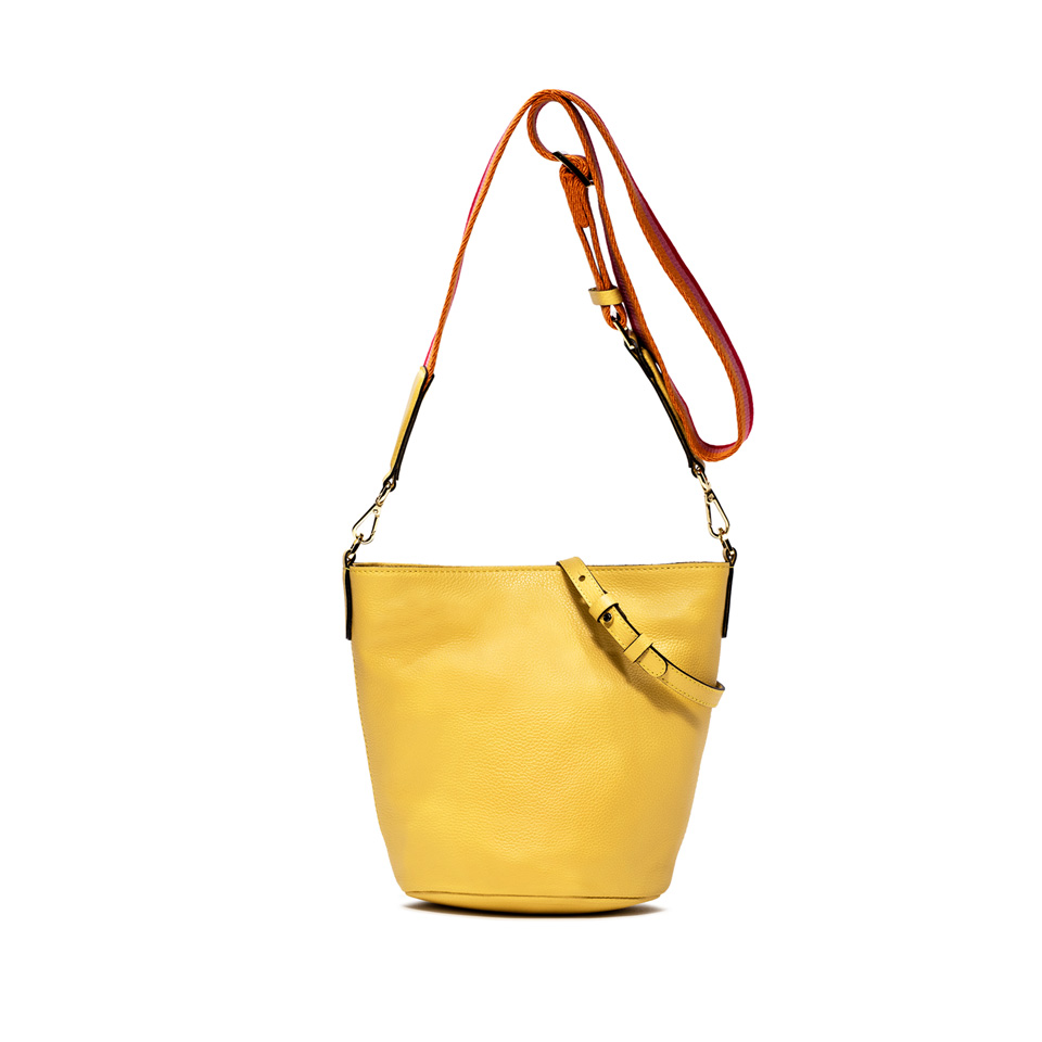 GIANNI CHIARINI: JACKIE LARGE YELLOW BUCKET BAG