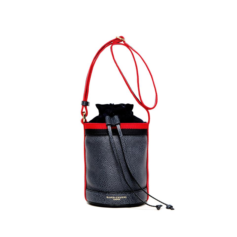 GIANNI CHIARINI: LENI MEDIUM BLUE BUCKET BAG