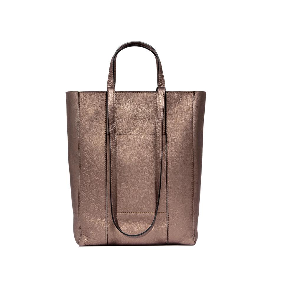 GIANNI CHIARINI: SUPERLIGHT  ZIP  MEDIUM  BRONZE  SHOPPING  BAG