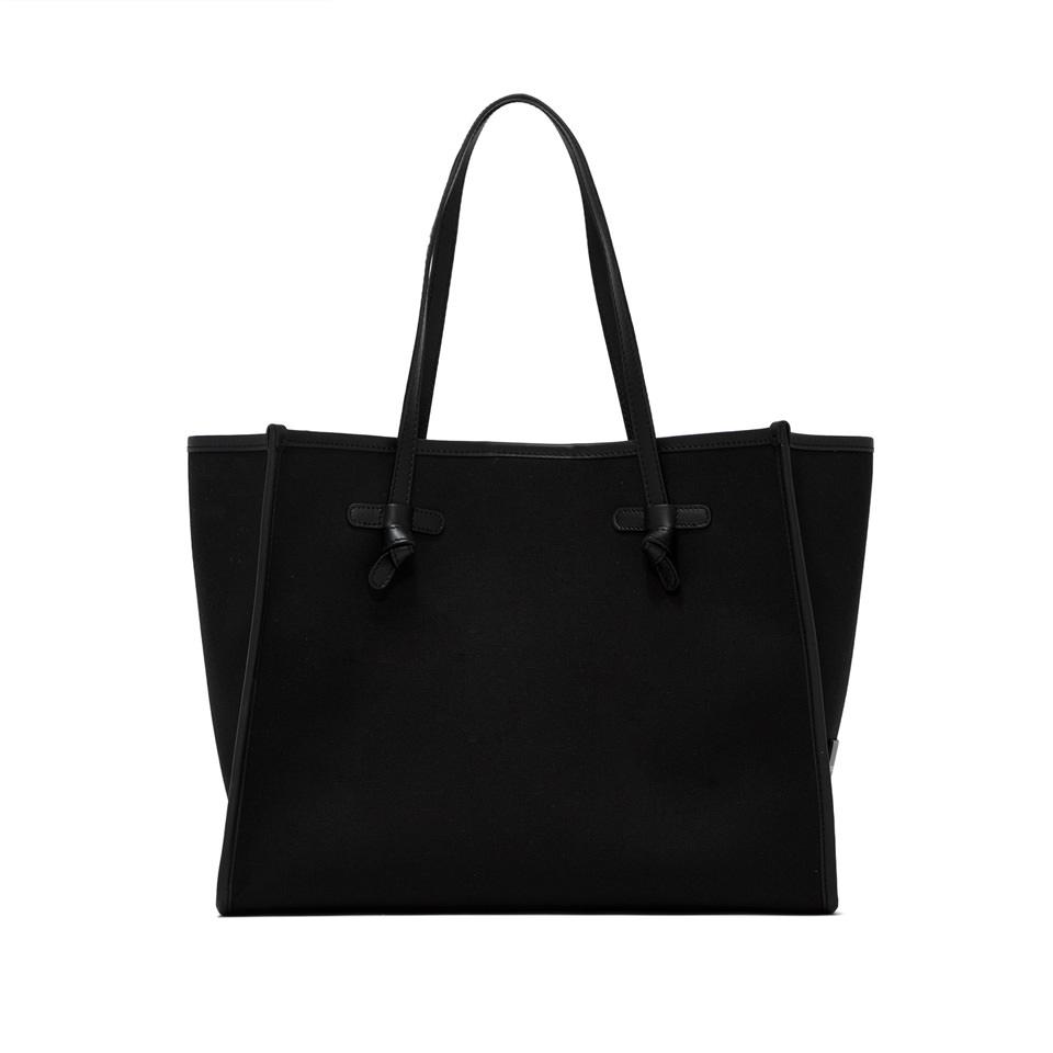 GIANNI CHIARINI: MARCELLA MEDIUM BLACK SHOULDER BAG WITH BLUE INTERIOR