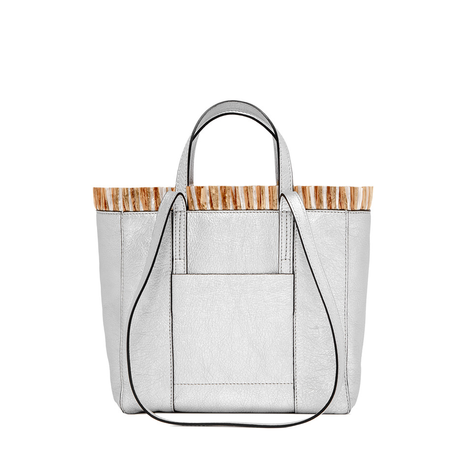 GIANNI CHIARINI: MEDIUM SIZE SUPERLIGHT TAHITI SHOPPING BAG COLOR SILVER