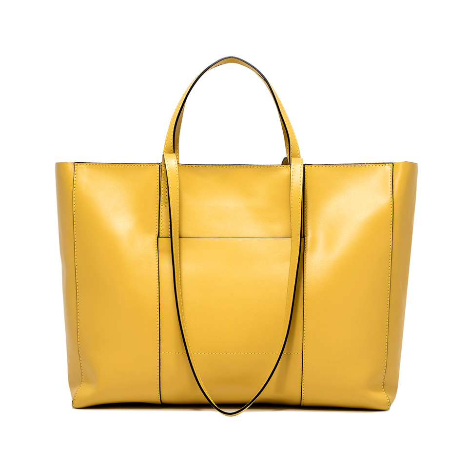 GIANNI CHIARINI: LARGE SIZE SUPERLIGHT ZIP SHOPPING BAG COLOR YELLOW