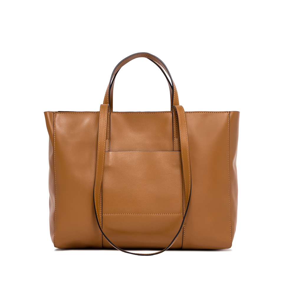 GIANNI CHIARINI: MEDIUM SIZE SUPERLIGHT ZIP SHOPPING BAG COLOR BROWN
