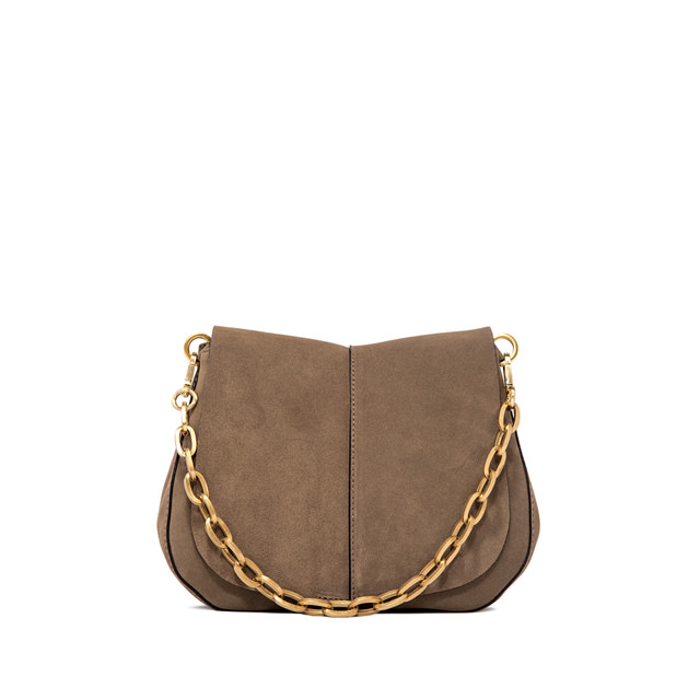 GIANNI CHIARINI: HELENA    ROUND    MEDIUM    BEIGE    CROSS    BODY    BAG