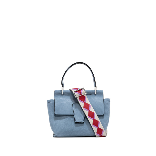 GIANNI CHIARINI ELETTRA CAMOSCIO SMALL LIGHT BLUE HANDBAG