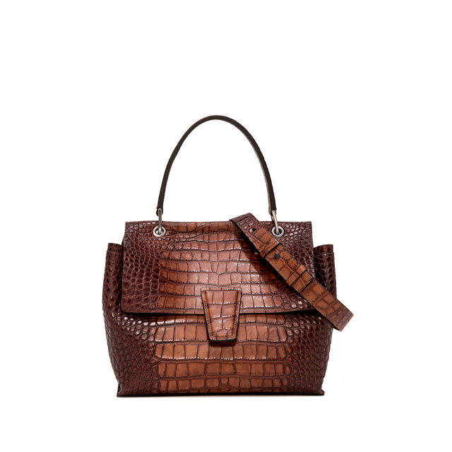 GIANNI CHIARINI ELETTRA MEDIUM HAND BAG BROWN