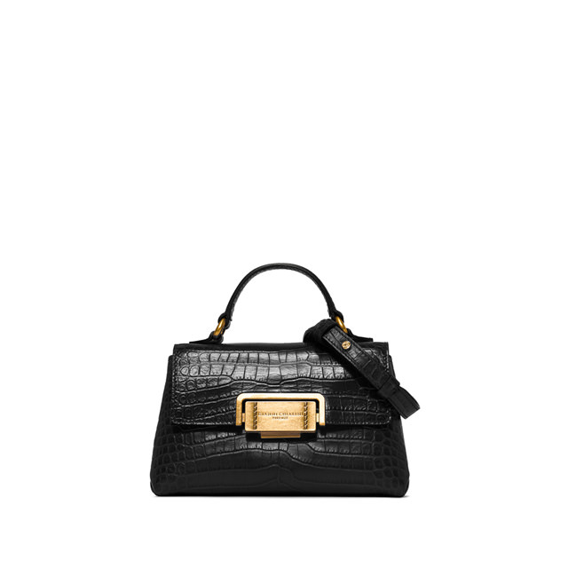 GIANNI CHIARINI MALL SIZE ROSSELLA HAND BAG COLOR BLACK