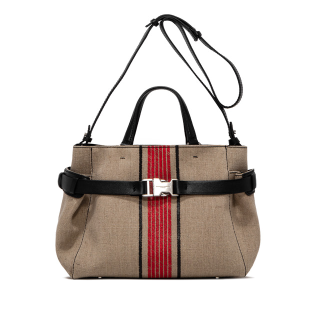 GIANNI CHIARINI LARGE SIZE STELLA CANVAS ETNO HAND BAG COLOR BEIGE