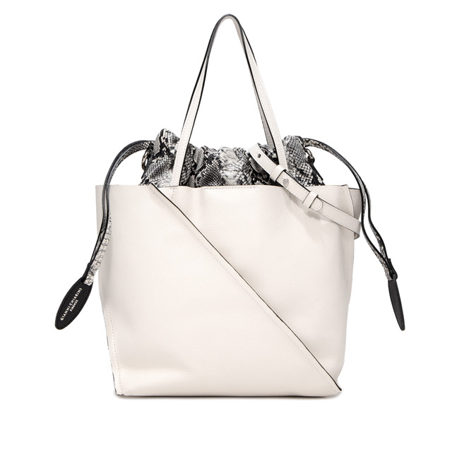 GIANNI CHIARINI LARGE SIZE TWIST HAND BAG COLOR WHITE