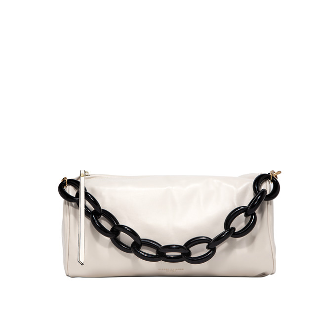 GIANNI CHIARINI: LARGE SIZE DELILAH SHOULDER BAG COLOR WHITE