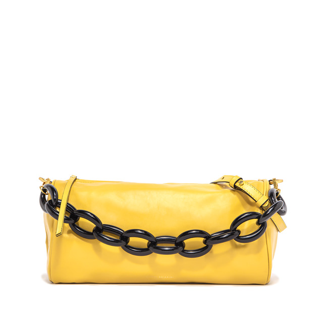 GIANNI CHIARINI: LARGE SIZE DELILAH SHOULDER BAG COLOR YELLOW