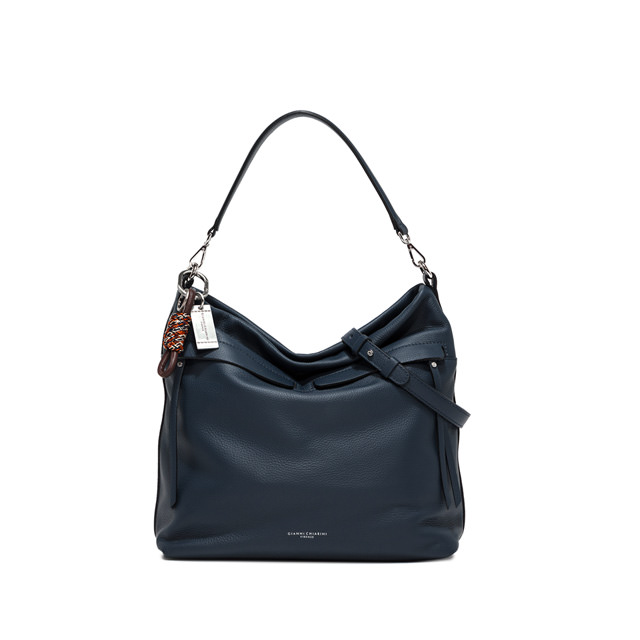 GIANNI CHIARINI DUNA LARGE BLUE SHOULDER BAG