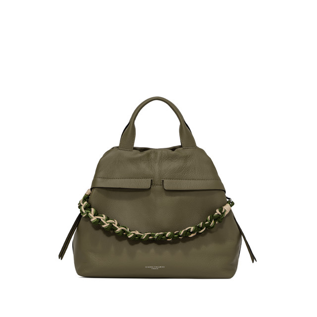 GIANNI CHIARINI LARGE SIZE DUNA SHOULDER BAG COLOR GREEN