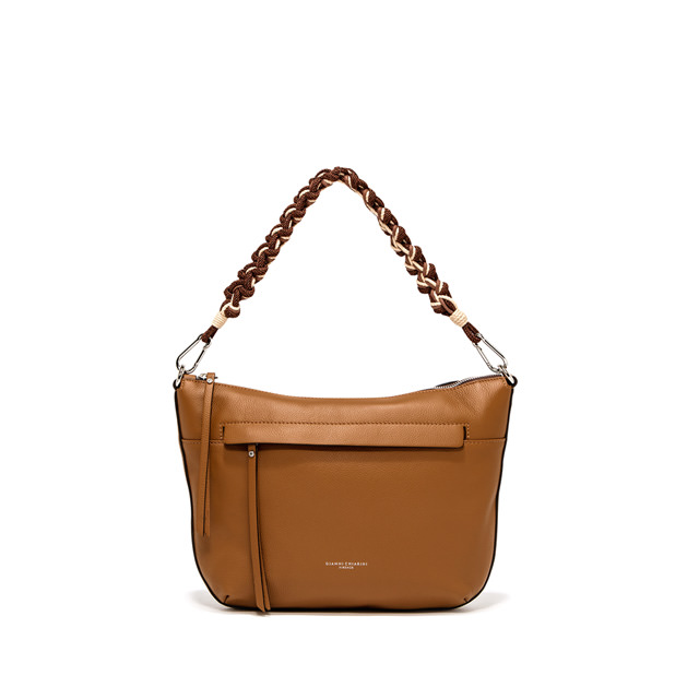 GIANNI CHIARINI: SMALL SIZE DUNA SHOULDER BAG COLOR BROWN