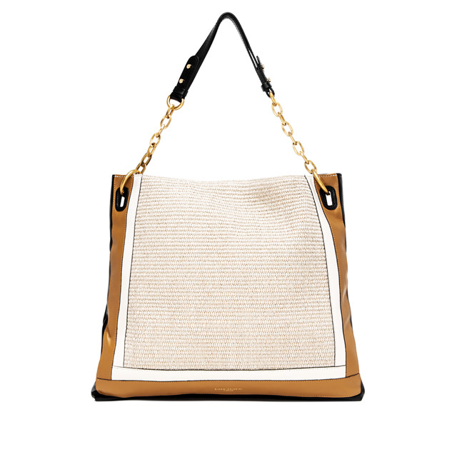 GIANNI CHIARINI LARGE SIZE GIUDITTA SHOULDER BAG COLOR BEIGE/BLACK