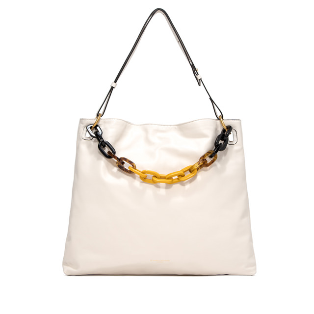 GIANNI CHIARINI LARGE SIZE GIUDITTA SHOULDER BAG COLOR WHITE