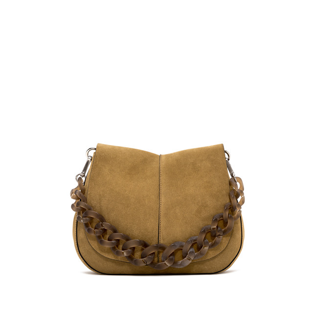 GIANNI CHIARINI: BORSA A SPALLA HELENA ROUND RESIN MEDIUM MARRONE