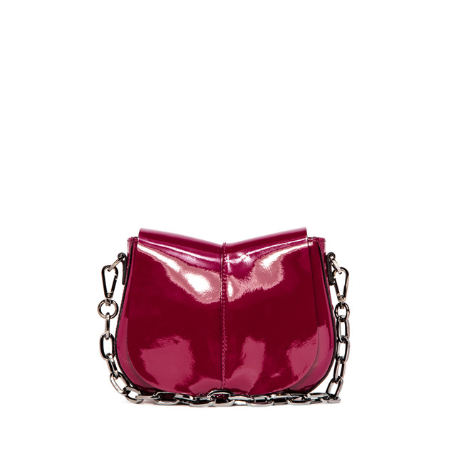 GIANNI CHIARINI HELENA ROUND SMALL BURGUNDY SHOULDER BAG