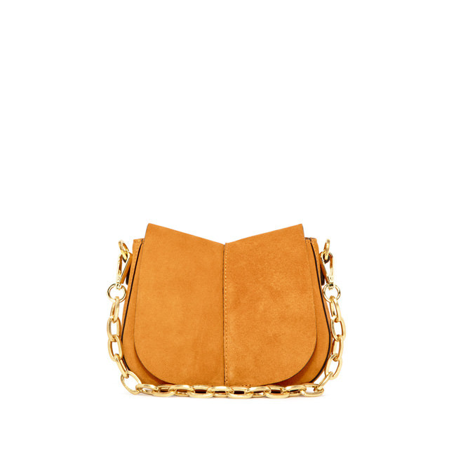 GIANNI CHIARINI: HELENA ROUND SUEDE SMALL ORANGE SHOULDER BAG