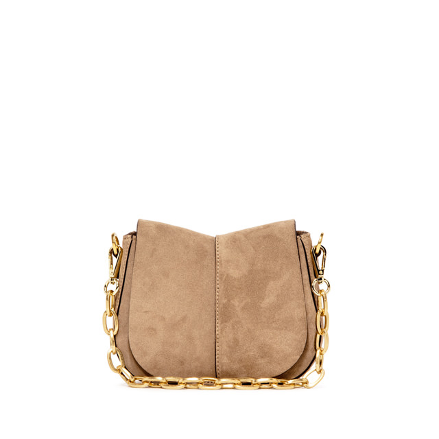 GIANNI CHIARINI: HELENA ROUND SUEDE SMALL BEIGE SHOULDER BAG