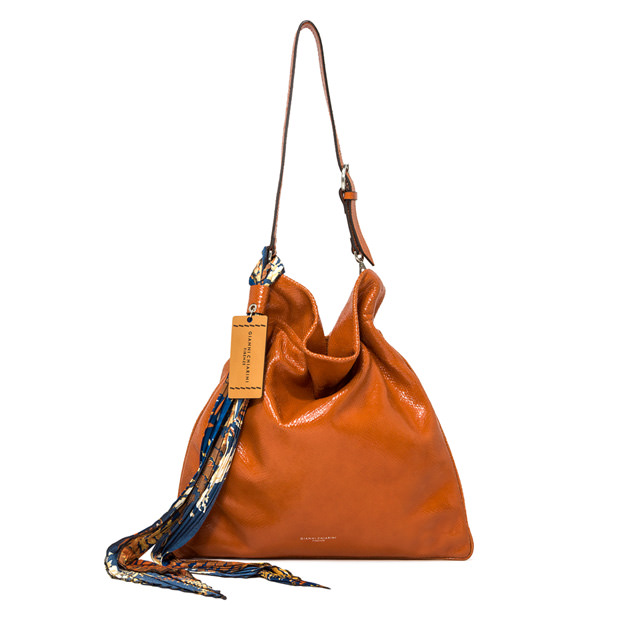GIANNI CHIARINI LARGE SIZE MEMORY SHOULDER BAG COLOR ORANGE