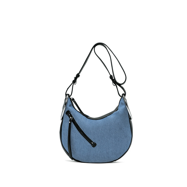 GIANNI CHIARINI EVA MEDIUM SKY BLUE BLACK CROSS BODY BAG